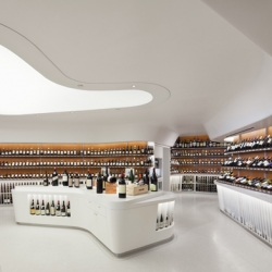 New York based architecture firm Rogers Marvel Architects latest retail project in the Battery Park neighborhood of New York City was inspired by 'parallel rows and rolling contours of a hilly vineyard.'