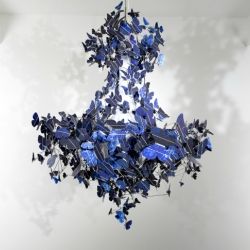 Jeroen Verhoeven's stunning 'Virtue of Blue' chandelier powered by five hundred sapphire-blue fluttering solar butterflies!