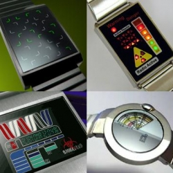 "Tokyoflash has some really unique watches.  These are some of my favorite ""Does that thing really tell time?"" ones.  Models are the JLr7 (top left), the Radio Active (top right), the Biohazard (bottom left), and the Art 8 (bottom right).  Enjoy!"