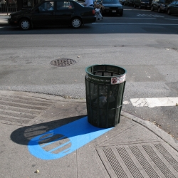 Joe Penrod makes counterfeit shadows out of blue painter's tape