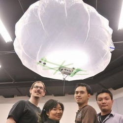 WeBlimp is a meter-long flying, crowd-controlled blimp with a tiny camera, a gondola and three small propellers.