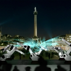 London Design Festival commissioned Clemens Weisshaar and Reed Kram to design this year's Trafalgar Square installation. OUTRACE is a mechanical octopus assembled from six industrial robotic arms on loan from Audi.