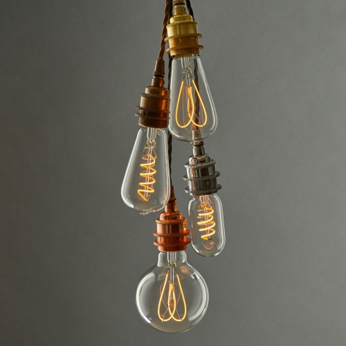well-lit's beautiful new range of exposed LED filament bulbs using new flexible LED technology to create the intricate filament shapes of traditional Edison bulbs but using 90% less energy.