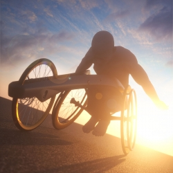 A concept ultra-long distance racing wheelchair, from Industrial Designer Andrew Mitchell. Using a carbon fibre chassis, and a tweaked riding position to make it suitable for very long distances day after day.