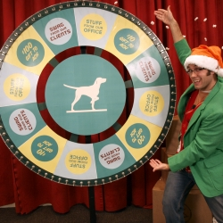 Ditching the printed card, ad agency Marcus Thomas is letting friends spin the Wheel of Holiday Destiny and win something great from our office. From a Rick Vaughn bobblehead to one of our client's glorious products to a donation to another client's foundation.