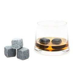 Whiskey Stones. Possibly the sexiest drink accessory ever. The stones are nonporous, and will impart neither flavor nor odor. More gentle than ice.