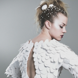 White Reef, hand-cut paper dress by Casey Watson, awarded 1st place at a recent Wearable Art Fashion show in Montreal.