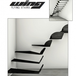 'Wing' Flying Stairs by Max Ptk, happy and light feelings of free flight in each step, and clearly defined lines of the wings from modern aircrafts in the design.