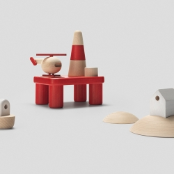 Permafrost presenting three new sets of wooden toys at the 100% Norway show for upcoming London Design Festival.