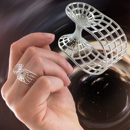 Wormhole Ring by Polygonal Encyclopedia. 3D Printed Bling for the Science Fashionista or a Galactic Gift for your Astronomer.