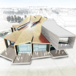 Snake-like new swimming complex for Worthing, UK by architect Wilkinson Eyre to replace the age old 1960s Aquarena.