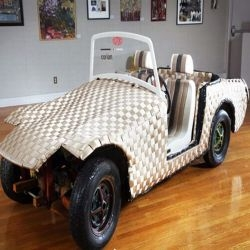 Ann Conte and Jeanne Wiley have woven together recycled and leftover materials to create an astonishing art Car that is on exhibit at the South Shore Art Center in Cohasset.