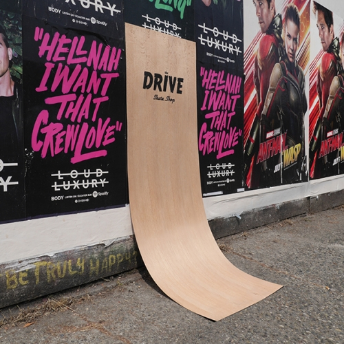 The Drive Skateboard Shop in Vancouver used wood veneer to create posters that look like wall ramps, which were posted around the city.