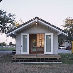 A Rice Building Workshop Project: Extra Small House -  500 sq ft  modern shotgun house built by Rice University students for $25,000 to serve as prototype housing in Houston, Texas. I'll take it.
