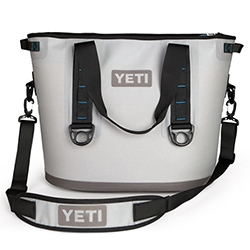 The YETI Cooler Hopper is coming soon - a soft cooler made of the same material as white water rafts.