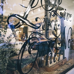 Caffe What If, Pomme-branded cafe, by Pomme Chan. Everything from windows, to cushions, to tableware and upholstery, features her beautiful hand-drawn creations.