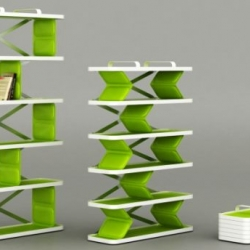 Zigzag shelving system is easy to set up, fits inside a bag.