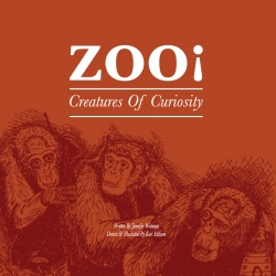 Zoo! Creatures Of Curiosity is a beautiful 110 page hardback cover book - featuring a scientific journal of make believe animals illustrated and drawn by artist Karl Addison - written and researched by Jennifer Weitman.