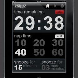 zsnuz beautifully designed app… sleek, modern, and minimalist… unique feature: snooze before you nap.