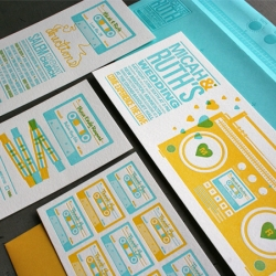 Absolutely love this Boombox and Mix Tape themed wedding invitation set designed by Adam Ramerth and printed by Studio On Fire.