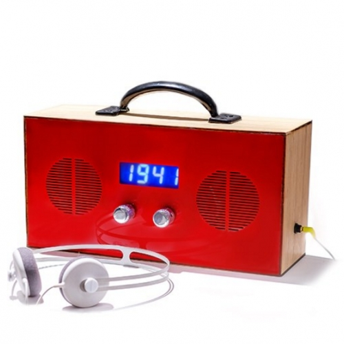 Time Travel Radio from PARTY. The device let's you tune into any year you want instead of frequency, and listen to the best hits from that time.