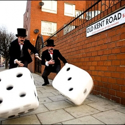 Monopolylive.com let you play Monopoly in the real London with 18 real cabs fitted with GPS systems as your movers.