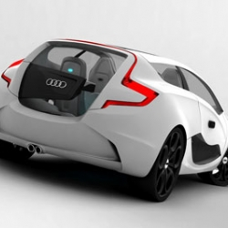 The Audi O Concept is a design study for a vehicle focused on audio listening, inspired by the design of modern music players and by the brand's styling cues. The author is Czech student Ondrej Jirec.