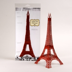 "12"" Laser cut paper Eiffel Tower model that assembles without glue, tape or fasteners. Design was based on the original plans."