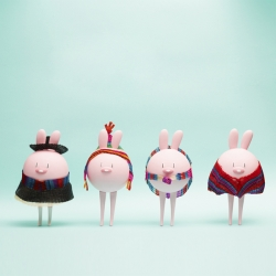 Eggpicnic's new toy collection Carmelita, Altiplánico, Aguayo and Poncho. Handmade resin toys dressed 100% in hand woven horse hair in collaboration with Marcela Sepúlveda, artisan from Rari, Chile.