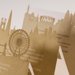 Laser Cut Olympics VIP Invitation for Hilton Worldwide: Designed by The Marketing Arm and laser cut by Artifacture, this uses a unique accordion fold to reveal a collection of iconic London architecture.
