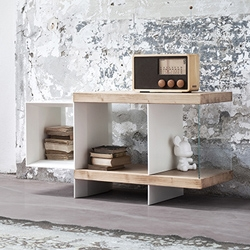 'Flap' storage table, coffee table, box for books and magazines. Chromatic contrast, differences between materials, versatile, innovative decor.