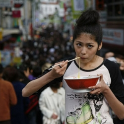 """""""Tokyo Noodle"""" is a project to photoshoot a girl eating Ramen noodle in the middle of Tokyo. Just that simple."""