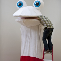 Meet Mr. Weekend.  A 15-foot tall robotic sock puppet by Seattle artist Mike Simi.  Be sure to check out both videos.