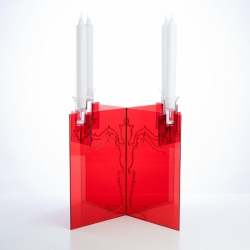 Ghost Candelabra in Red, Black, Clear, available at mooncruise* gallery.