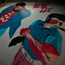 Stevie Gee's first solo show VENGENCE IS COMING kicked off last week. Check out the pics for custom paint jobs to tomahawks, screen prints and T's.