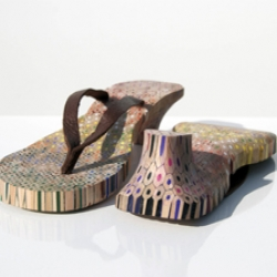 shoes made from colored pencils