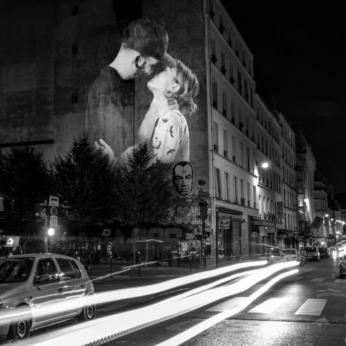 "A Digital Street Art experience in the streets of Paris. Inspired by french poet Alfred de Musset: ""The only true language in the world is a kiss"", Julien NONNON projected onto the walls and buildings of the capital almost a hundred of couples kissing."