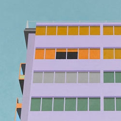 Australian painter Joanna Lamb has created a series of works where she repaints the same high-rise building in different colour schemes.
