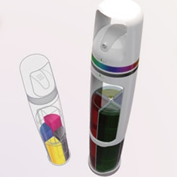 The refillable Color Dial Spray is a novel design for a spray can that contains four color cartridges (CMYK) in the one can. Two dials (for hue and brightness) help the painter achieve the exact color required.