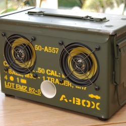 Dutch company Thodio has collected an army of 50s style ammo boxes and stuffed them with high-quality Kevlar speakers. The A-BOX is functional and puts out a great amount of sound, even for a metal box.