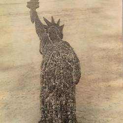 With an 11x14-inch view camera and little more, Arthur Mole staged some incredible mass photography of iconic national symbols around the time of WWI. Mole utilized thousands of military troops and other groups to form these bird's-eye view spectacles.