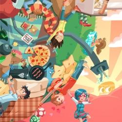 Scott Pilgrim + Katamari Damacy = Scottamari. Über-awesome artwork by Jemma Salume and Dean Trippe.