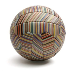 Designer Paul Smith took his signature multistripe vertical patterns and printed it on this leather soccer ball ('football' for purists).