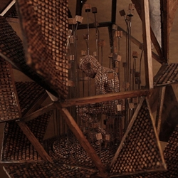 Automata by Levi van Veluw. Automata are mechanical objects endowed with life by ingenious means.This rewindable object is made from wood. The cubes rotate around their axes as they are powered by 100 gears.