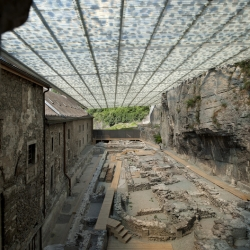 The Abbey of St Maurice, an interesting architectural intervention by Savioz Fabrizzi Architects; a structure intended to protect a rather important archaeological site.