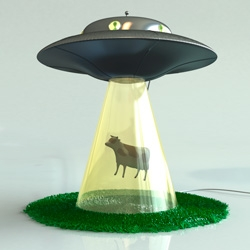 The Abduction Lamp is a lamp for sci-fi fans with a playful mind. A metal UFO rest upon a hollow cone shaped glass stand representing the UFO beam.