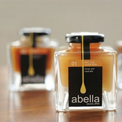 Abella, an artisan honey produced and estate bottled in Galicia features gorgeous packaging designed by Bonnie Miguel.