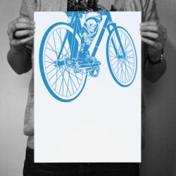 'Moving Is Living' fixed gear print will be reissued in beautiful blue - one color screenprint on heavy a3 stock, edition of 25...