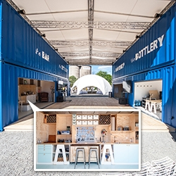 "Skog & Stuveback made the ""Absolut Creative Space"" in Stockholm out of 4 shipping containers used to ship Absolut Vodka."