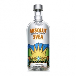 Exclusive for the Swedish market, comes Absolut Svea. Touch of apple + ginger. Designed by artist Fredrik Söderberg.